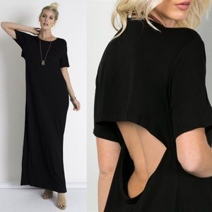 ZARA open back long dress - BLACK