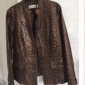 Metallic Brown and Gold Tab Collar Jacket