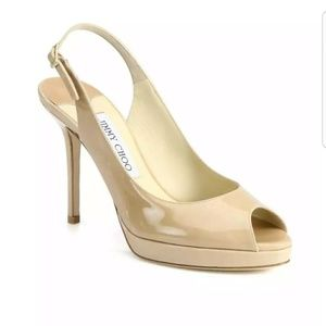 Jimmy Choo Shoes - {Jimmy Choo} Nova 100 P. Leather Nude Slingbacks