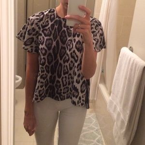 Collective Concepts Tops - Collective Concepts Leopard Print High-Low Blouse