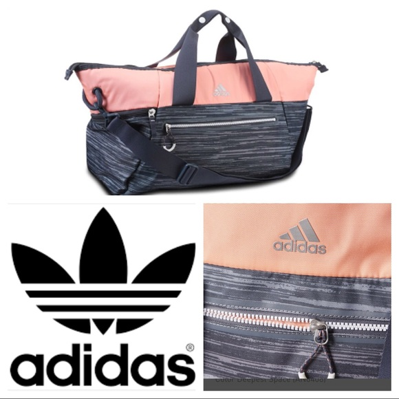 370a89229a adidas Handbags - Adidas Studio Duffel Gym Bag Grey   Peach Salmon