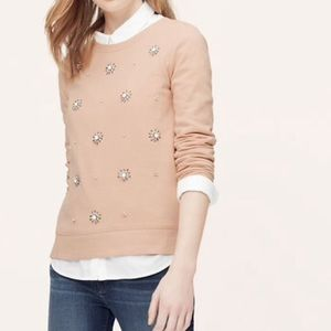LOFT Blush Jeweled Sweater