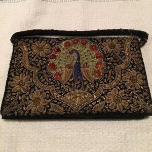 Vintage Velvet Peacock Clutch