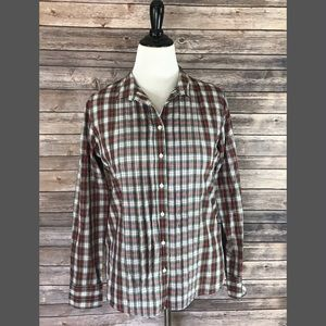 J. Crew Tops - J Crew Top Sz Large Red Green White Plaid Pintuck