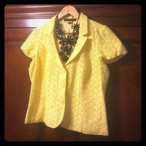 Express Jackets & Blazers - Express Yellow Lace Floral Blazer