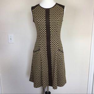 LOFT Dresses & Skirts - LOFT brown tan geometric dress size 2