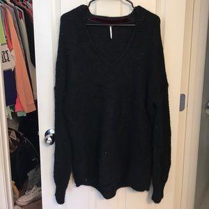 Free People black baggy sweater