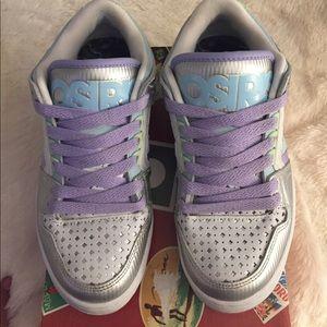 Osiris Shoes - Osiris Harlem Girls White and Silver Sneakers