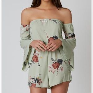 Necessary Clothing Pants - NWT Floral strapless bell sleeve romper