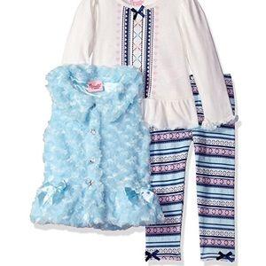 Nannette Other - Nannette 3 Pc Fur Satin Bows Vest Tee & Legging 3T