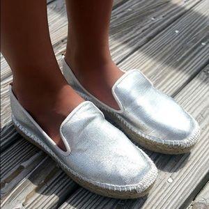 Boutique Shoes - Metallic Silver Espadrilles