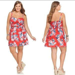Jessica Simpson Plus Size Red Blossom  Dress