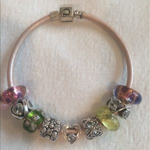 Chamilia Jewelry - Authentic Chamilia Pink Leather Bracelet & Charms