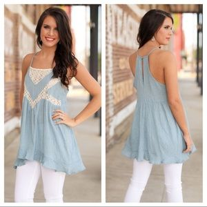 Tops - Crinkled Chambray Lace Tank