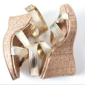Nina Shoes - Nina 9 Gold Metallic Cork Wedge Wrap Around Ankle