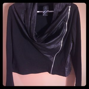 Annalee + Hope Tops - Black feux leather with zipper long sleeve top