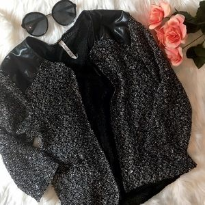 Willow & Clay Jackets & Blazers - Willow & Clay Marled Sequin Faux Leather Jacket