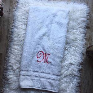 "Sonoma Other - Pink Monogram ""M"" White Beach Towel"