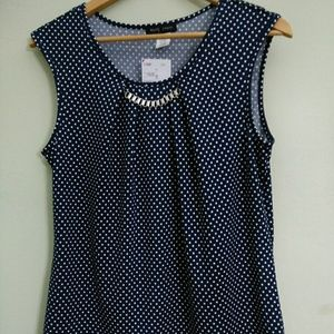 Mandy Evans Tops - ***SOLD***   Sleeveless Polka Dot Blouse/Size: XL