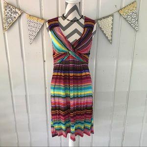Spense Dresses & Skirts - Rainbow Stripe Twist Front Empire Waist Dress