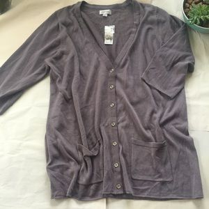 Avenue Sweaters - LAST CHANCE NWT Gray 3/4 Sleeve Button Cardigan