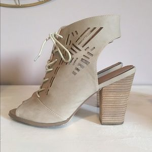 Restricted Shoes - Lace Up Tan Razor Cut Sandal Heels
