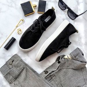 Black and Gold Faux Suede Sneakers