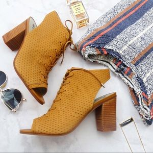 Cognac Perforated Lace Up Slingback Booties