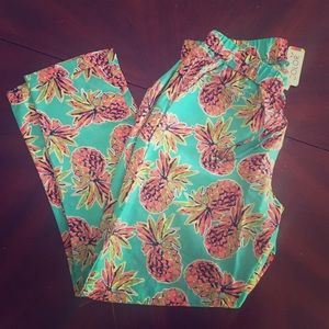 All For Color Pants - Flowy, drawstring, pineapple print capris, NWT, L