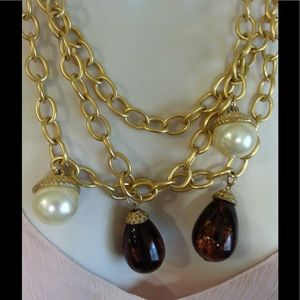 Jewelry - Gold 3 Chain Necklace with Brown and Pearl Bobbles
