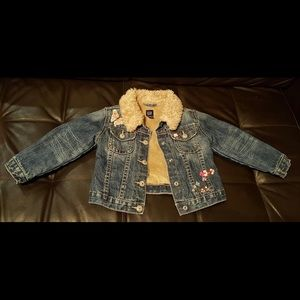 Baby Gap Faux Fur Lined Embroidered Denim Jacket 4