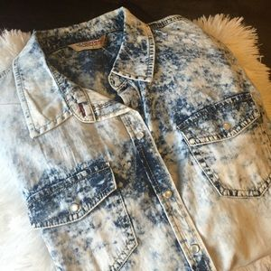 Highway Jeans Tops - NWOT-Highway Jeans Distressed Denim Top