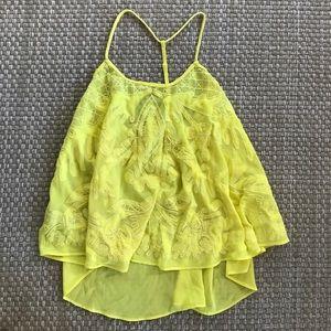 Tops - Yellow sheer mesh top t back top bright yellow