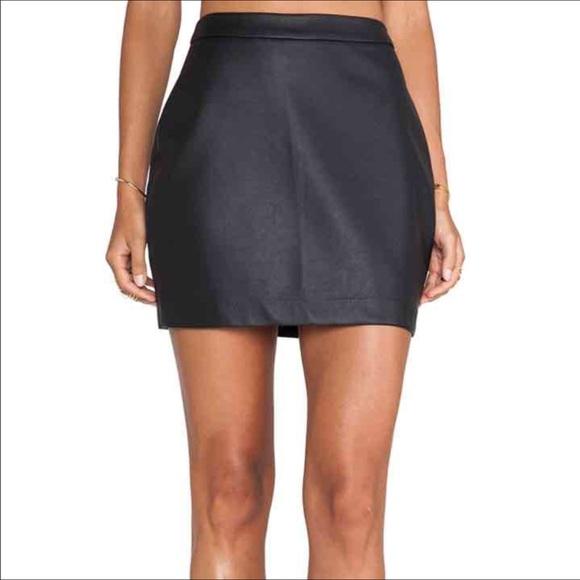 by bb dakota by bb dakota black leather skirt