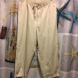 Classic Woman Pants - Classic Woman Tan Elastic Drawstring Khakis 18WP