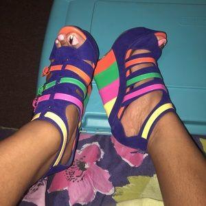Alba Shoes - Rainbow Blue Multicolored Wedged Heels