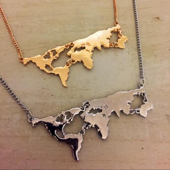 50 off Jewelry World map necklace silver or gold from L 39 s closet on