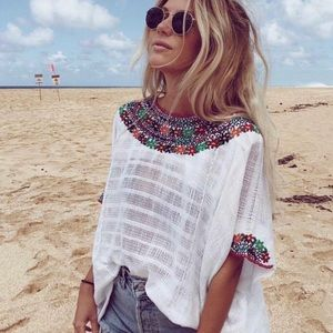 Mexican Handmade Embroidered Telar Loom Poncho
