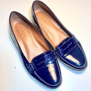 Massimo Dutti Shoes - Massimo Dutti Patent Leather Loafers in Navy Blue