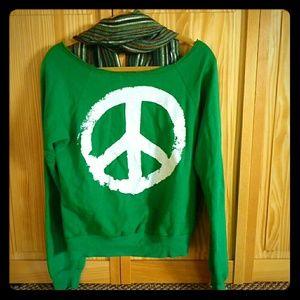 Ocean Drive Tops - Ocean Drive Peace Sweatshirt with Scarf