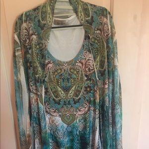 Dress with jacket soft flowy with bling sz 1X
