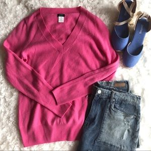 J. Crew Factory Sweaters - Pink J. Crew Cashmere V-Neck Sweater