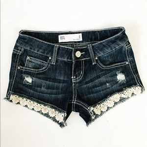 Tilly's Pants - RSQ Cali crochet dark wash denim shorts