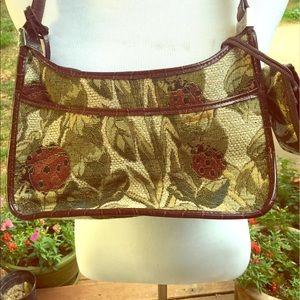 Unique Vintage Ladybug Tapestry/Brown Leather Bag
