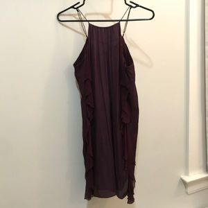 Dark purple dress with sheer ruffles