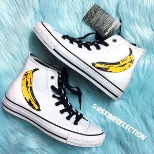 Converse Andy Warhol Banana White Leather Hi Top