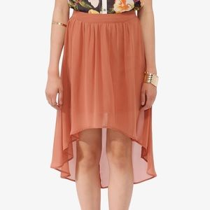 Forever 21 Pink Pleated High Lo Chiffon Skirt