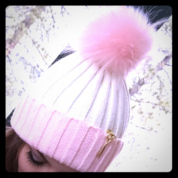 b7dbb9780365d0 oh lollipop Accessories | Pink Cream Barbie Snow Bunny Pom Pom ...