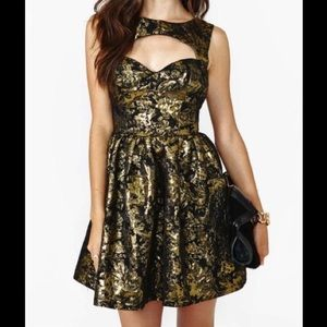 Nasty Gal Dresses & Skirts - Black and gold floral-ish pattern dress