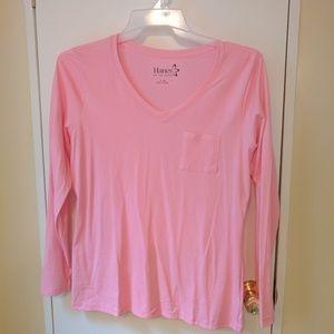 Hanes Tops - NWOT Hanes Pink Long Sleeve V-Neck Pocket Tee
